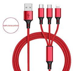 DECVO Multi Charger Nylon Braided 3 in 1  Multiple Charging