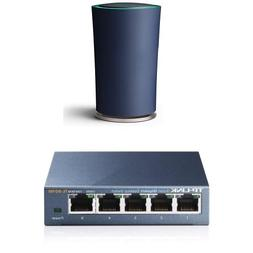 TP-Link OnHub Router and 5-Port Gigabit Unmanaged Desktop Sw