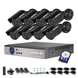 DEFEWAY 8 Channel Security Cameras System with 1080N AHD Aud
