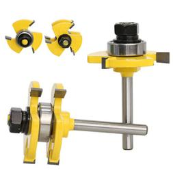 """Tongue and Groove Router Bit Set 1/4"""" Shank T-shape 3-teeth"""