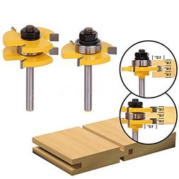 "2Pcs Tongue & Groove Router Bit 3/4"" Stock 1/4"" Shank For Wo"