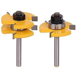 2Pcs Tongue and Groove Router Bit, Grooving Router Bit, 3 Te