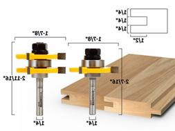 """3/4"""" 2 Bit Tongue and Groove Router Bit Set - 1/4"""" Shank - Y"""