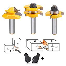 AxPower Tongue and Groove Router Bit Tool Set 1/2 Inch Shank