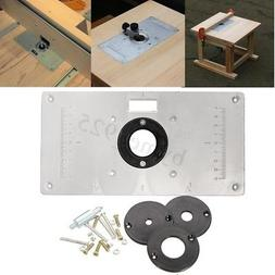 US Aluminum Alloy Router Table Insert Plate + 4 Rings Screws