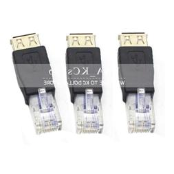 3PC USB A Female F to Ethernet RJ45 Male Router Adapter Plug