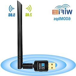 LOTEKOO USB WiFi Adapter 5dBi Antenna, 600Mbps Dual Band  Wi